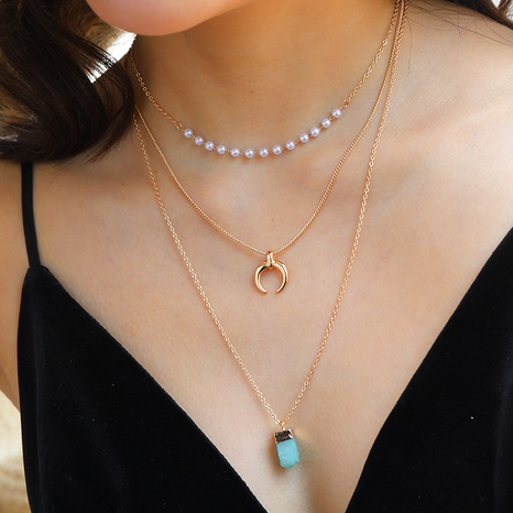 green imitation natural stone crescent pendant multi-layer necklace  NHAN320969's discount tags