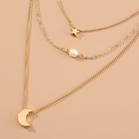 Fashion moon pendant metal multilayer necklace NHAN320970's discount tags