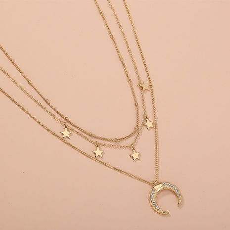 Fashion Star Moon Diamond Pendant Multi-layer Necklace  NHAN320972's discount tags