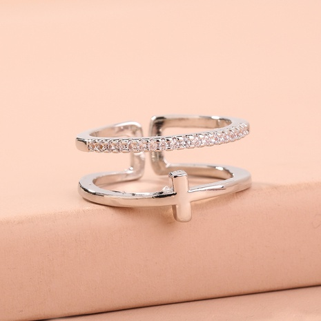 fashion double-layer cross micro-inlaid copper zircon ring NHAN320994's discount tags