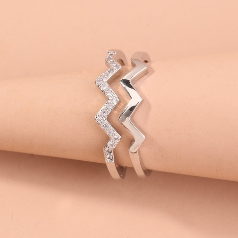 new creative wave double layer diamond ring NHAN320995's discount tags