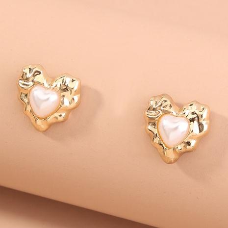 retro heart-shaped metal pearl earrings  NHAN321001's discount tags