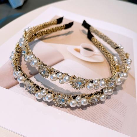 Korean rhinestone pearl golden hairband NHHD321044's discount tags
