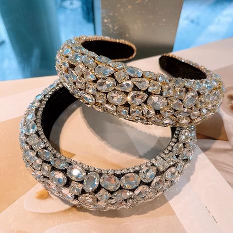 Banda de pelo de esponja de diamantes de imitación retro coreana NHHD321048's discount tags