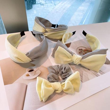 Doppelschichtiges Stirnband aus gelbem Leinen NHHD321049's discount tags