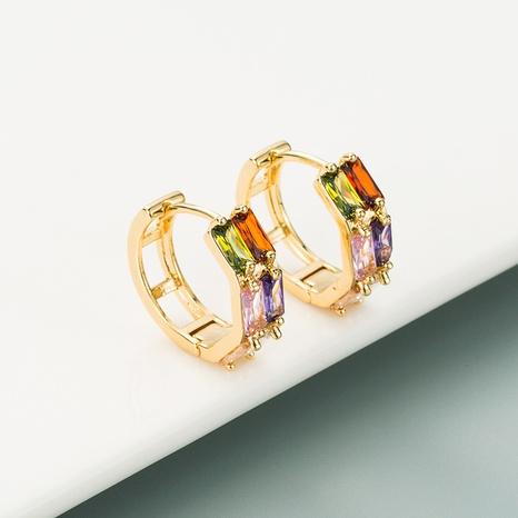 pendientes geométricos de circonitas de cobre de doble hilera NHLN321068's discount tags