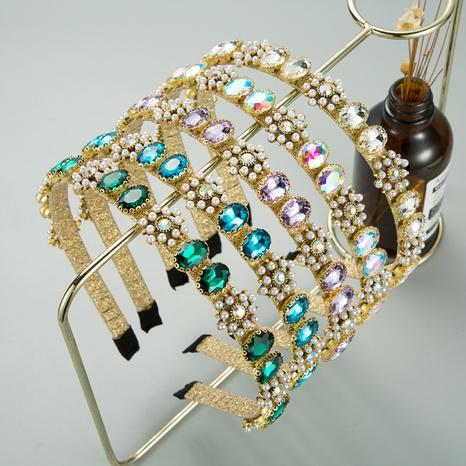 einfaches Perlenblumen-Strass-Retro-Stirnband NHLN321072's discount tags