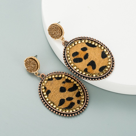 new fashion oval leather leopard earrings NHLN321076's discount tags