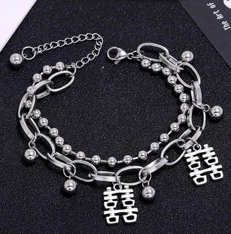 Korean simple stainless steel happy character pendant bracelet NHSC321130's discount tags
