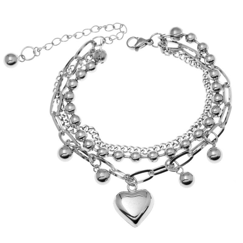 Korean fashion stainless steel love heart pendant bracelet NHSC321129