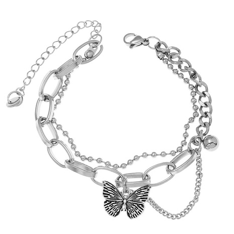 Korean simple stainless steel butterfly bracelet NHSC321128's discount tags