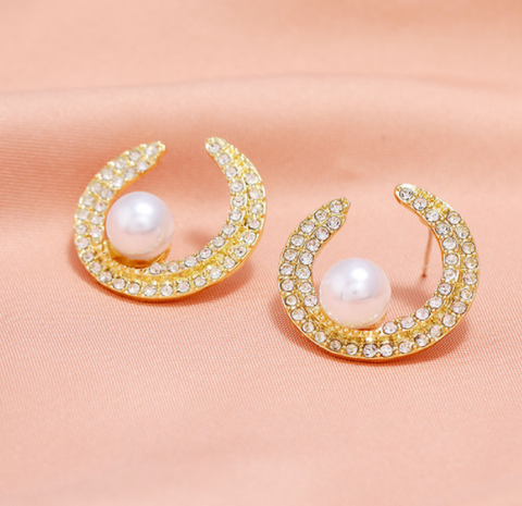 fashion concise pearl studded earrings NHSC320047's discount tags