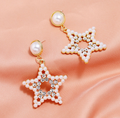 fashion simple pearl and diamond star earrings NHSC320044's discount tags