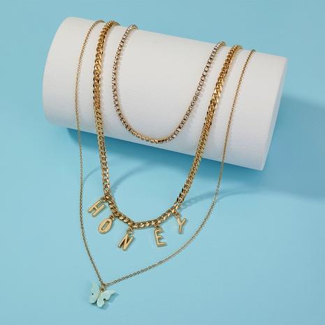carta de moda borla de miel colgante de mariposa collar de múltiples capas NHAN321136's discount tags