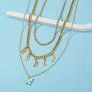 fashion letter honey tassel butterfly pendant multilayer necklace NHAN321136