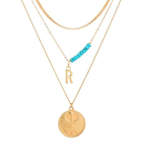 Mode Vogel Gold runder Anhänger mehrschichtige Buchstabe R Halskette NHAN321137's discount tags