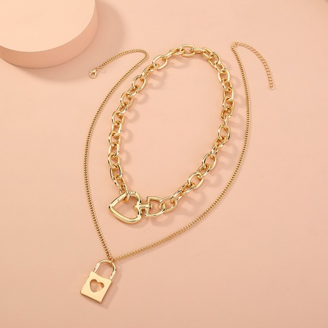 fashion exaggerated love lock-shaped hollow necklace NHAN321145's discount tags