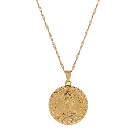 collier rond en relief portrait romain rétro NHAN321147's discount tags