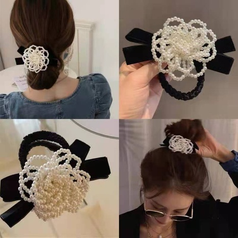 Korea new pearl bow knot camellia hair ring NHCQ321178's discount tags