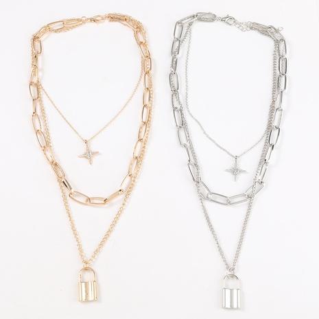 retro star diamond lock three-layer necklace NHJE321200's discount tags