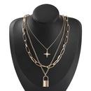 collier  trois couches avec cadenas en diamant toile rtro NHJE321200