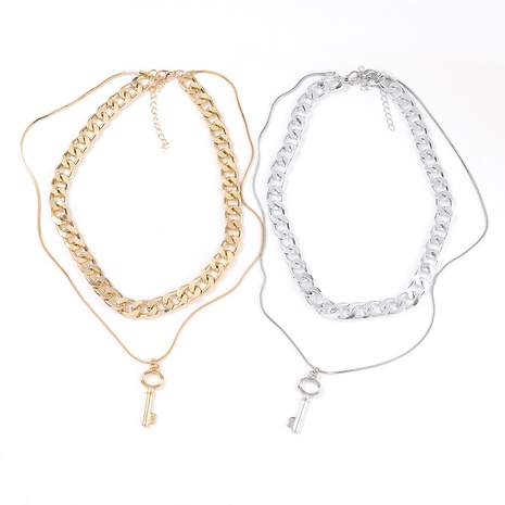 fashion key double-layer alloy necklace NHJE321201's discount tags