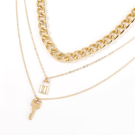 fashion alloy key lock multi-layer necklace two-piece  NHJE321202's discount tags