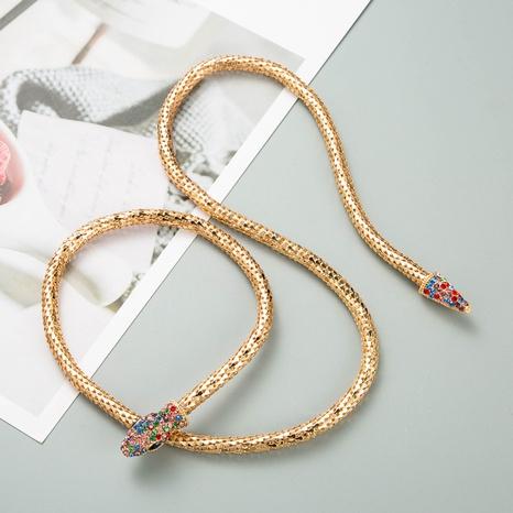 collier à chaîne creuse en forme de serpent simple et créatif NHLN321203's discount tags