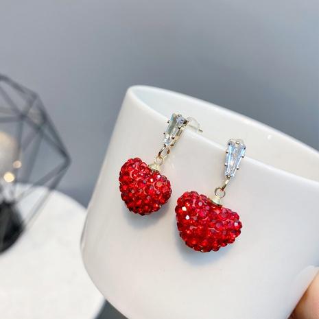 full diamond red heart earrings NHFS321257's discount tags