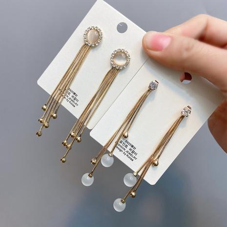 Boucles d'oreilles coréennes incrustées de diamants à pampilles longues NHFS321264's discount tags
