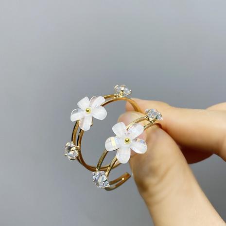 Pendientes de flores de cristal de circonita coreana NHFS321266's discount tags