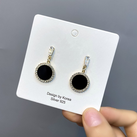 Boucles d'oreilles coréennes en forme de cœur serti de diamants NHFS321268's discount tags