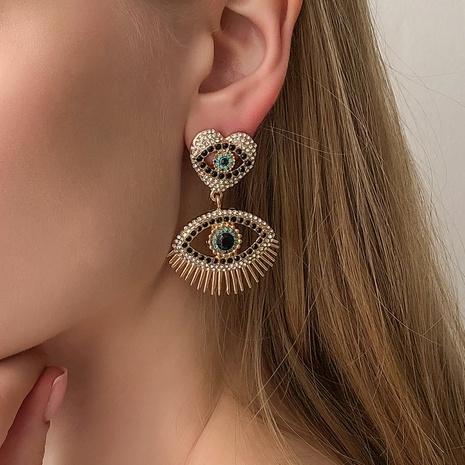 aretes de aleación con forma de ojo del diablo con diamantes NHMD321285's discount tags