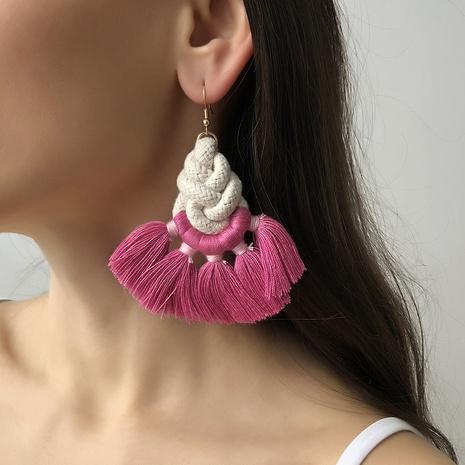 Bohemian Rope Braided Tassel Earrings  NHMD321287's discount tags