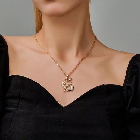 nouveau collier dragon zircon plaqué or simple NHDP321292's discount tags