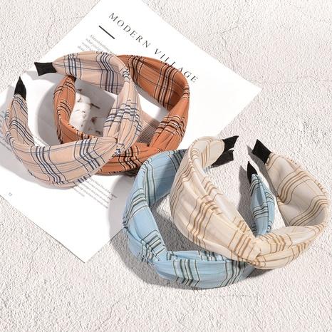Mode einfache karierte Chiffon Kreuz Stirnband NHAQ321301's discount tags