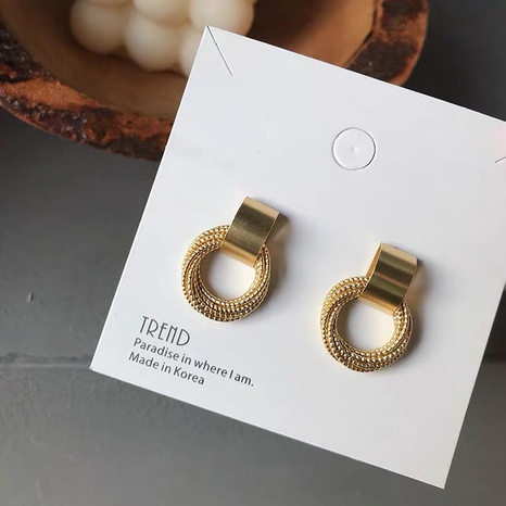 s925 silver needle gold circle earrings  NHAQ321304's discount tags