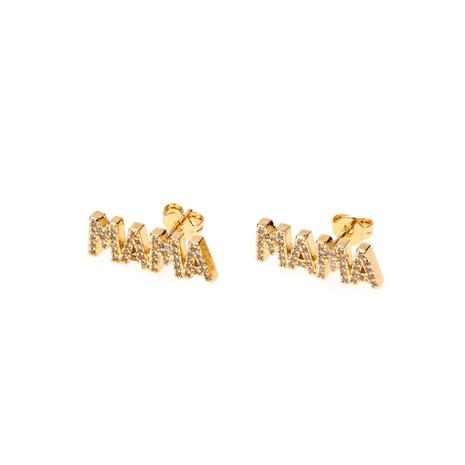 Mode Diamant MAMA Brief Ohrringe NHPY321354's discount tags
