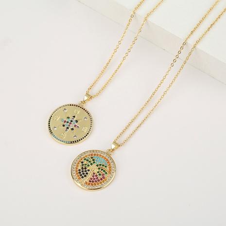 collar de circón de color de árbol de coco de brújula de cobre de moda NHBU321358's discount tags