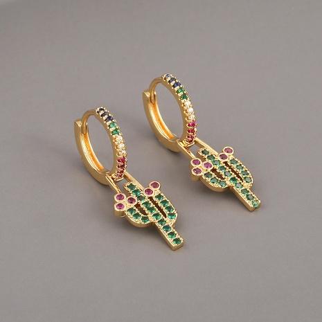 Pendientes de cactus de circonita de cobre de moda NHBU321371's discount tags