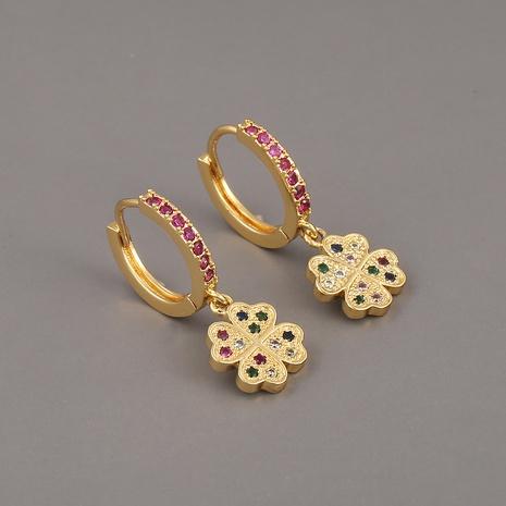 pendientes geométricos con forma de corazón de trébol de cuatro hojas NHBU321374's discount tags