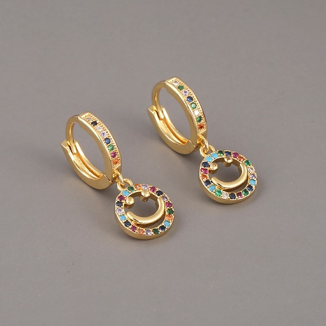 copper zircon smiley face earrings   NHBU321377's discount tags