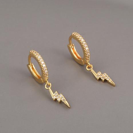 lindos aretes de cobre con relámpago de circonitas NHBU321390's discount tags