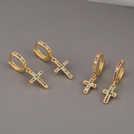 pendientes cruzados de circonitas de color simple NHBU321397's discount tags