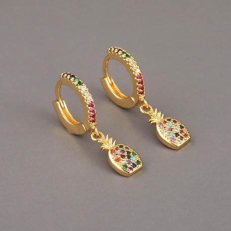 Pendientes de piña de circonita de color cobre de moda NHBU321400's discount tags