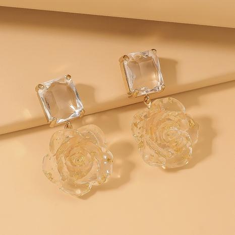 Pendientes de flor color de rosa de resina de cristal de moda NHNJ321416's discount tags