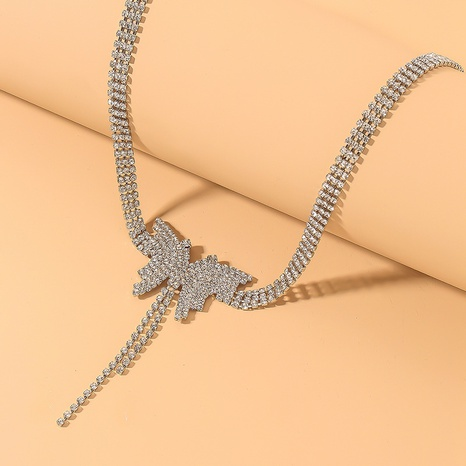 fashion rhinestone butterfly necklace NHNJ321419's discount tags
