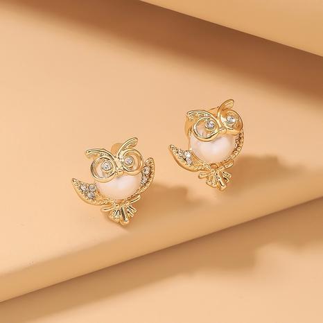 fashion owl pearl rhinestone earrings  NHNJ321420's discount tags