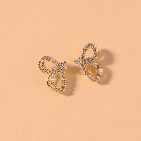 Pendientes de mariposa de diamantes de imitación dorados de estilo coreano NHNJ321423's discount tags