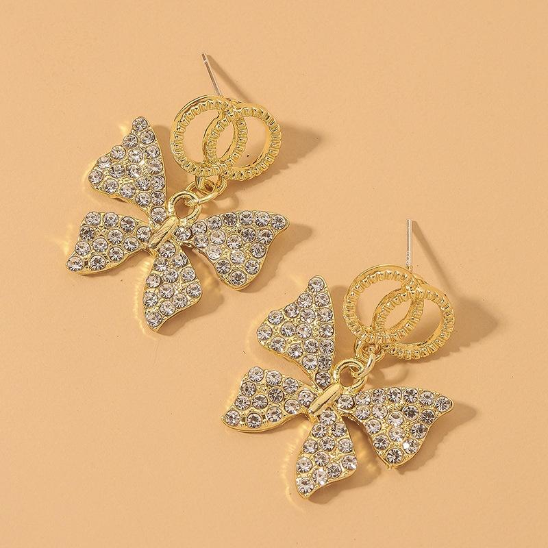 double circle full rhinestone butterfly earrings NHNJ321428